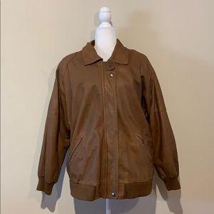 Architect Vintage Brown Leather Bomber Jacket
